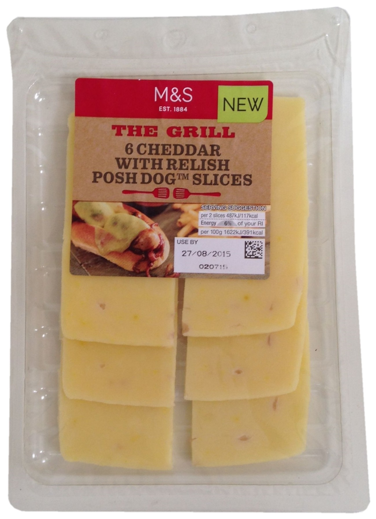 Cheddar with Relish Posh Dog Slices